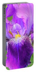 Purple Iris Flower Portrait Portable Battery Charger