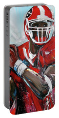 Portable Battery Charger featuring the painting Quarterback by John Jr Gholson