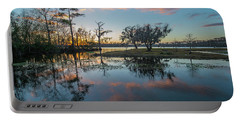 Portable Battery Charger featuring the photograph Quiet River Sunset by Tom Gresham