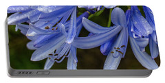 Rain Drops On Blue Flower Portable Battery Charger