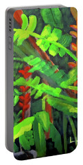 Portable Battery Charger featuring the painting Rain Forest Memories by Linda Feinberg
