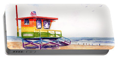 Portable Battery Charger featuring the painting Rainbow Lifeguard Tower by Carlin Blahnik CarlinArtWatercolor