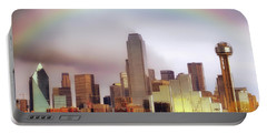 Rainbow Over Downtown Dallas - Dallas Skyline - Texas Portable Battery Charger