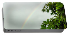 Rainbow With Leaves In Foreground Portable Battery Charger