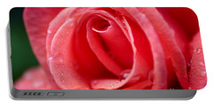 Raindrops On Rose Portable Battery Charger