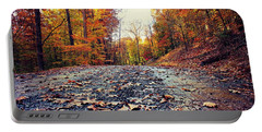 Rainy Fall Roads Portable Battery Charger