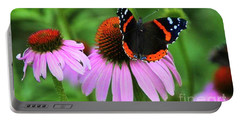 Red Admiral And Coneflowers Portable Battery Charger