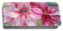 Red And Pink Poinsettias Portable Battery Charger