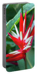 Red And White Birds Of Paradise Portable Battery Charger