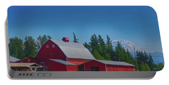 Red Barn With Mount Rainier Portable Battery Charger