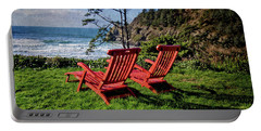 Red Chairs At Agate Beach Portable Battery Charger