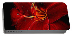 Red Daylily On Black Portable Battery Charger