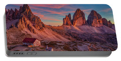 Red Evening On Tre Cime Di Lavaredo Portable Battery Charger