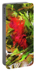 Red Flower On The Branch Portable Battery Charger