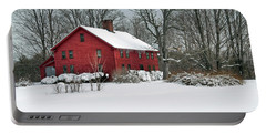 Red New England Colonial In Winter Portable Battery Charger