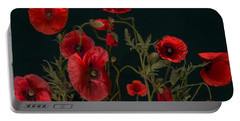 Red Poppies On Black Portable Battery Charger