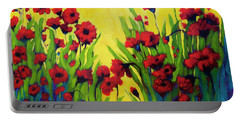 Red Poppy Field In Summer Portable Battery Charger