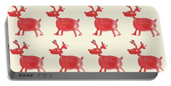 Portable Battery Charger featuring the painting Red Reindeer Pattern by Maria Langgle