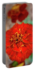 Red Summer Flowers Portable Battery Charger