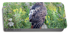 Red-tailed Hawk On Fence Post Portable Battery Charger