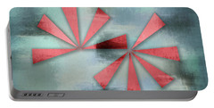 Red Triangles On Blue Grey Backdrop Portable Battery Charger