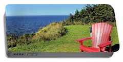 Red Chair By The Ocean Portable Battery Charger