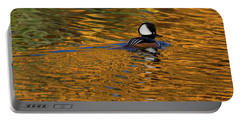 Reflecting With Hooded Merganser Portable Battery Charger