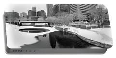 Reflection Of Omaha - Winter - Black And White Portable Battery Charger