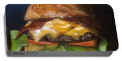 Portable Battery Charger featuring the pastel Renaissance Burger  by Fe Jones