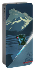 Portable Battery Charger featuring the painting Retro Revelstoke Ski Poster by Sassan Filsoof