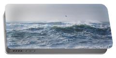 Reynisfjara Seagull Over Crashing Waves Portable Battery Charger