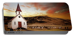 Reyniskirkja Lutheran Church In Iceland Portable Battery Charger