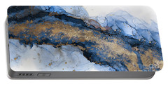 River Of Blue And Gold Abstract Painting Portable Battery Charger