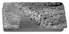 River On The Rocks. Bw Version Portable Battery Charger
