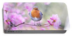 Robin On Pink Flowers Portable Battery Charger