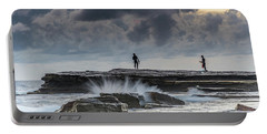 Rock Ledge, Spear Fishermen And Cloudy Seascape Portable Battery Charger