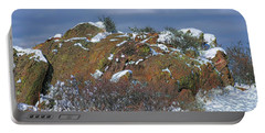 Portable Battery Charger featuring the photograph Rock Snow Sky by Jon Burch Photography