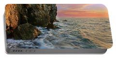 Rocky Cliffs And Waves During Sunset Portable Battery Charger