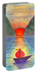 Portable Battery Charger featuring the painting Romantic Ship by Dobrotsvet Art