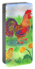 Rooster And Little Chicken Portable Battery Charger