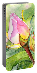 Portable Battery Charger featuring the painting Rose Buds In The Garden by Carlin Blahnik CarlinArtWatercolor