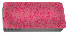Rose Colored Fern Pattern Portable Battery Charger