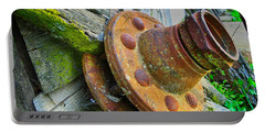 Portable Battery Charger featuring the photograph Rusted Hub by Tom Gresham