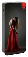 Sad Woman In Red Portable Battery Charger