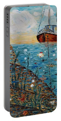 Portable Battery Charger featuring the painting Safe Harbor by Maria Langgle