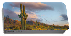 Saguaro And Brittlebush In Spring Portable Battery Charger