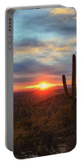 Saguaro Cactus And Tucson At Sunset Portable Battery Charger