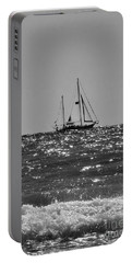 Sailboat In Black And White Portable Battery Charger