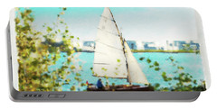 Sailboat On The River Watercolor Portable Battery Charger