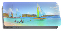 Sailboats At Sandy Ground In Anguilla  Portable Battery Charger